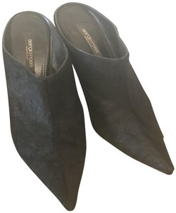 Sergio Rossi Pony Hair Hair Black Mules
