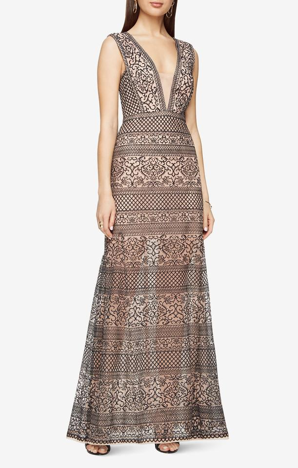 BCBGMAXAZRIA Tan and Black Aurora Embroidered Tulle Gown Long Casual ...