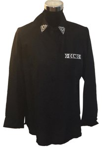 Diane Gilman Button Down Shirt Black w/White Beading