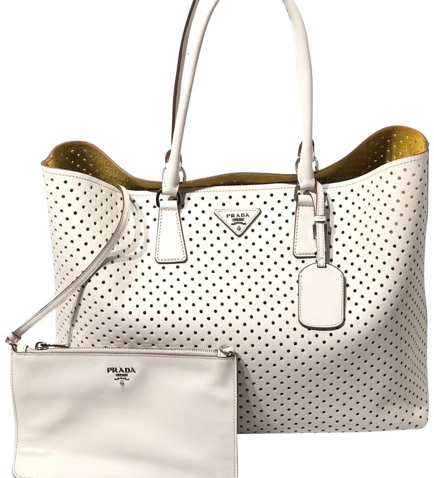 Prada Perforated with Pouch Leather Tote - Tradesy 6e16a1ebbd459