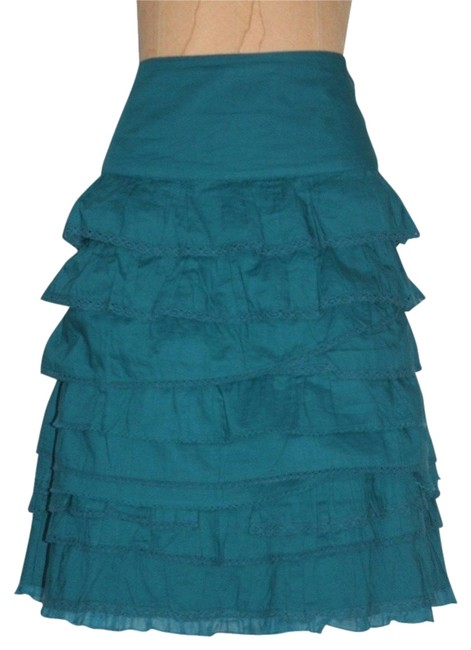 Anthropologie Tiered Edme Skirt TEAL