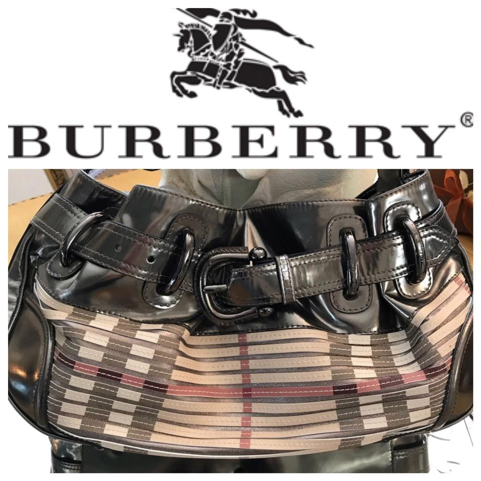 80be9c1e630b Burberry Sliced Beaton Gun Metal Grey and Nova Check Leather   Canvas with  Satin Interior Shoulder Bag