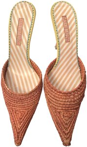 Claudio Merazzi Resort Straw Italian Orange Mules