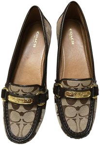 Coach Loafers Driving Slip-on Khaki Flats