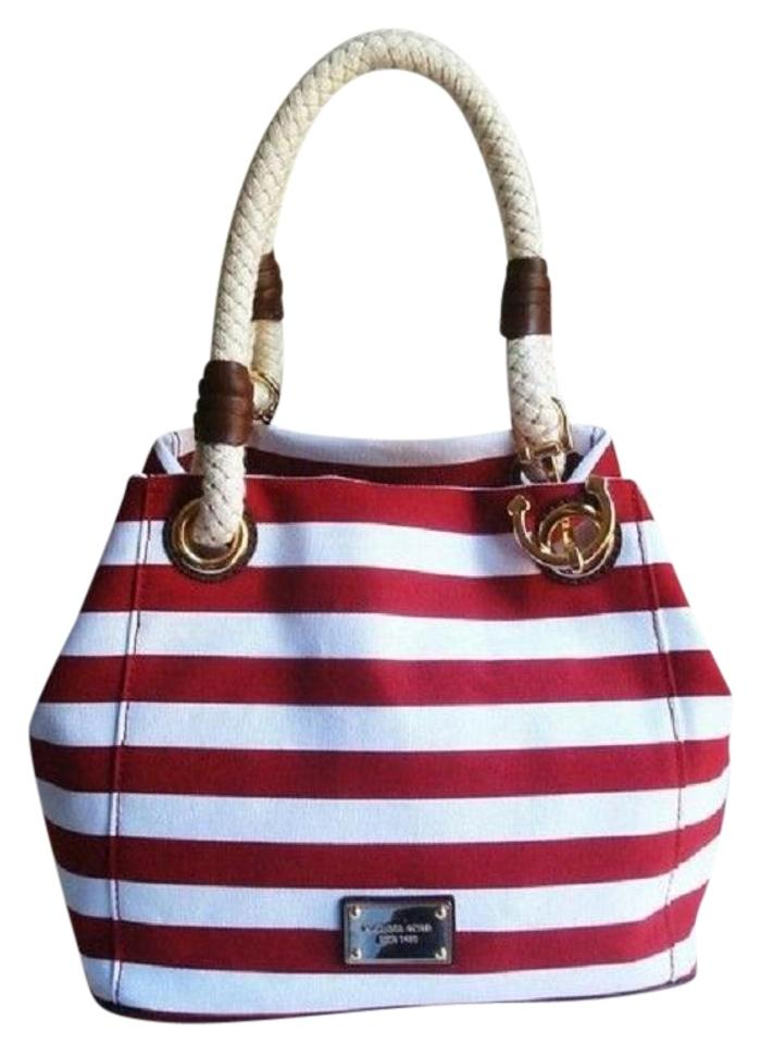 dd2e30f4fcae7b Michael Kors Nautical Beach Summer Sailor Tote in Red White Striped Image 0  ...