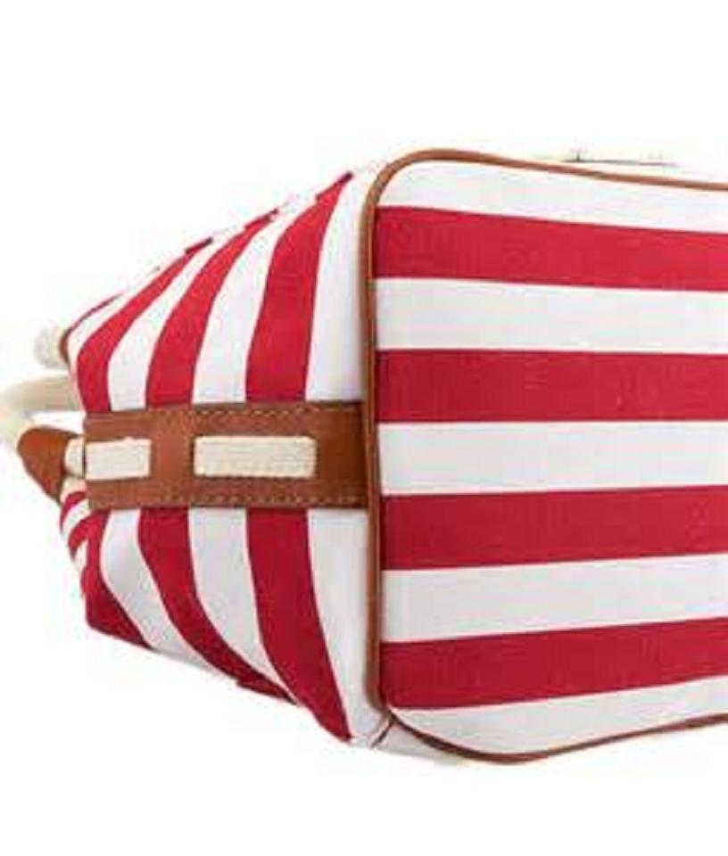 436d9491baceb6 Michael Kors Nautical Beach Summer Sailor Tote in Red White Striped Image  5. 123456