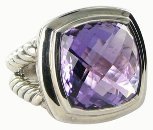 David Yurman Albion Ring 17mm Amethyst Cable Sterling Silver Sz 7
