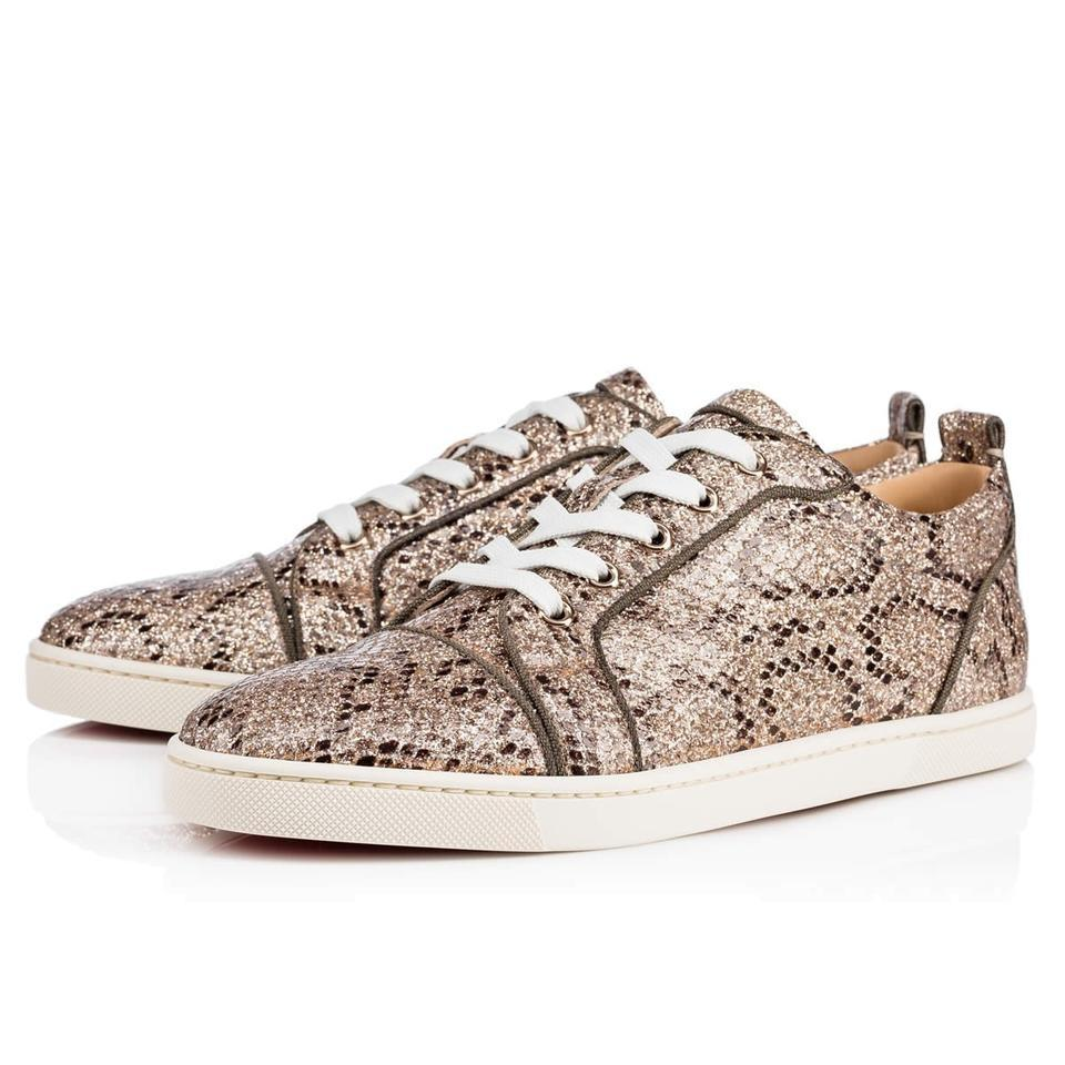 Lace Christian Snake Louboutin up Print Low Gondoliere Glitter Leather Sneakers Classic Top Gold Rocca w4wfS6q
