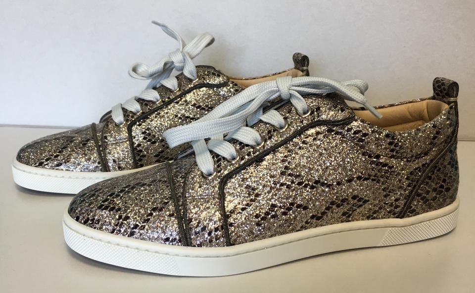Louboutin Low Print Top Gondoliere Gold Rocca up Classic Snake Glitter Leather Lace Sneakers Christian 6cRdPq7fW6