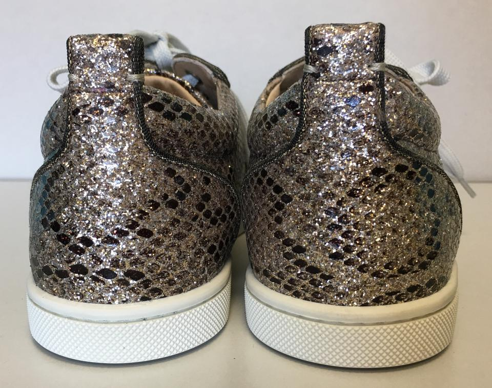Louboutin Gondoliere Lace Low Glitter Rocca Christian Leather up Sneakers Snake Print Top Classic Gold Htxznd