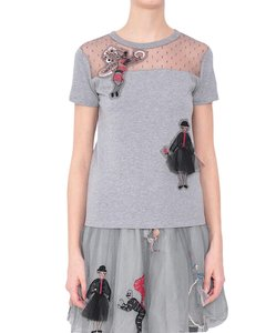RED Valentino Polka Dot Tulle Embellished Classics T Shirt Grey