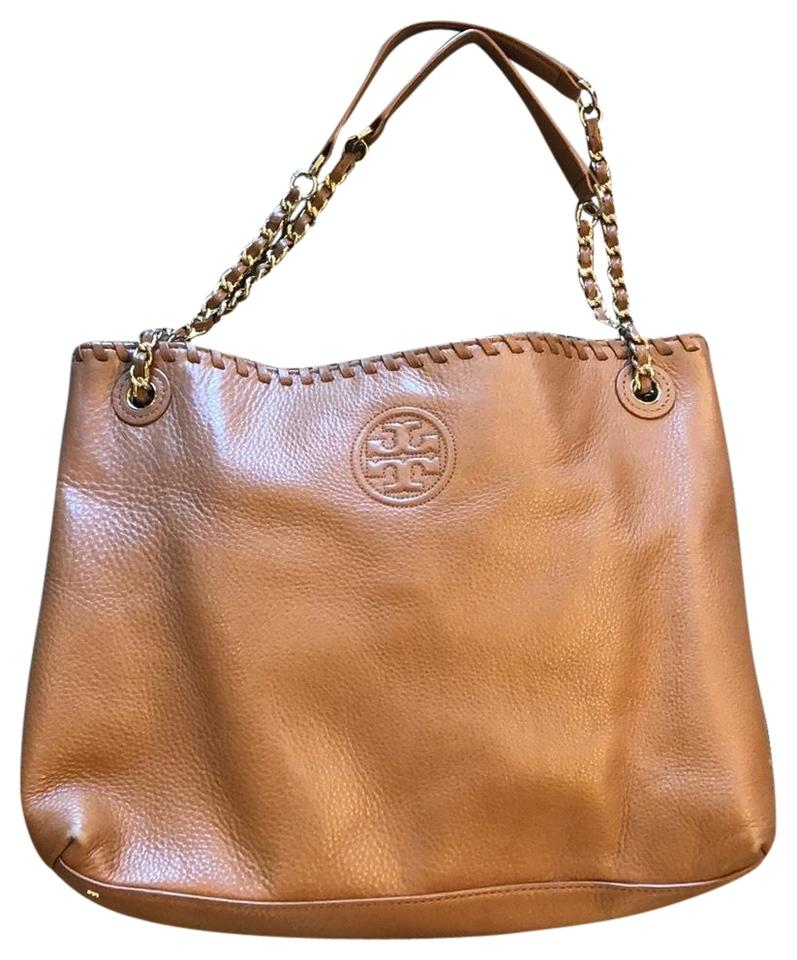 63a691fe7f84 Tory Burch Marion Chain Shoulder Slouchy Tan Leather Tote - Tradesy