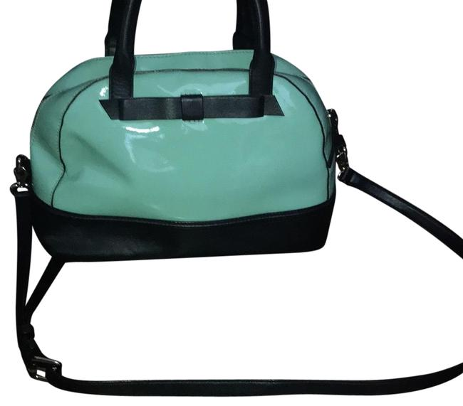 Item - Cross Body Mint Green and Black Patent Leather Baguette