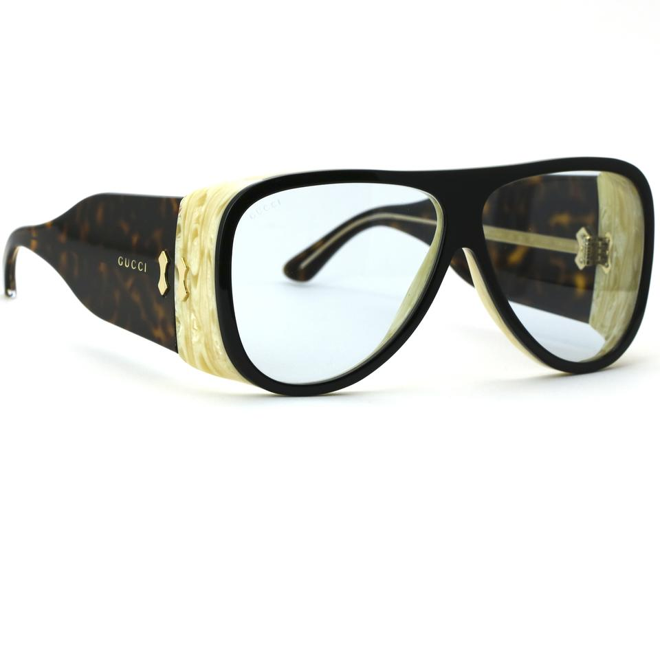 fad75c6683 Gucci Black and Havana 0149s Frame with Light Blue Lens Sunglasses - Tradesy