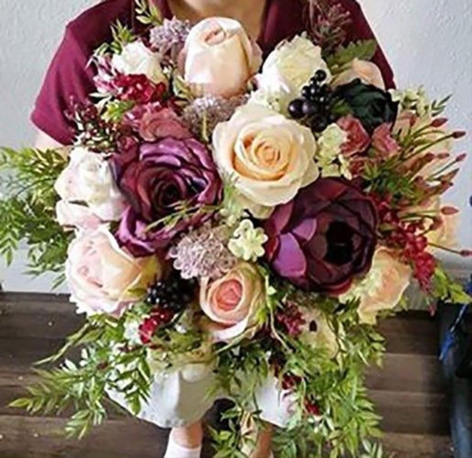 Plum and Ivory Wedding Flowers Bride & Bridesmaids Bouquets - Tradesy
