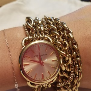 Anne Klein Gold tone double-wrap multi-chain watch