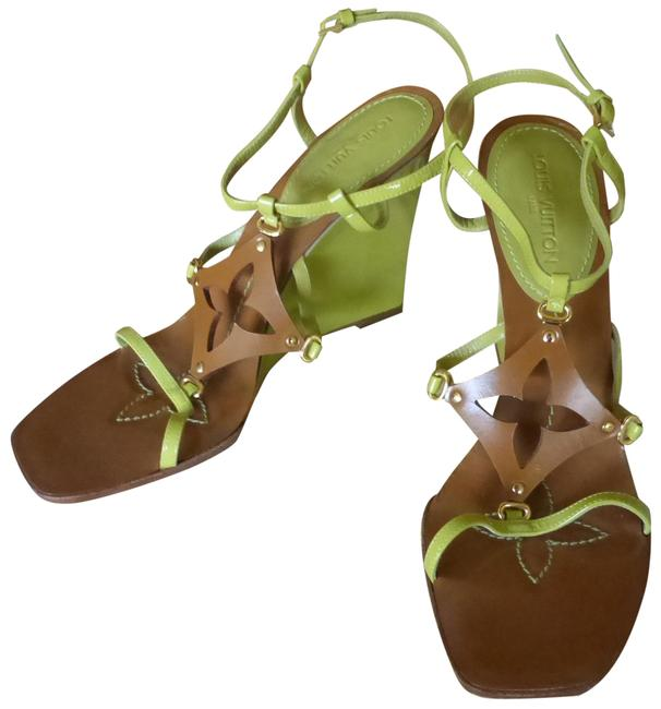 Item - Apple Green Brown & Gold Italy Wedges Size EU 39.5 (Approx. US 9.5) Regular (M, B)