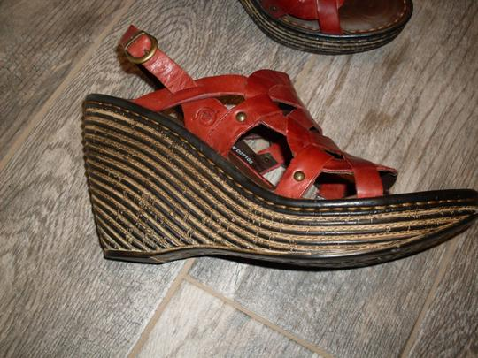 Brn Leather Red Wedges Image 1