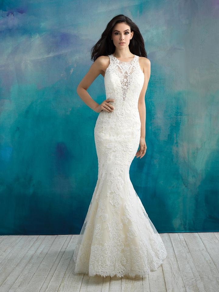 Allure Bridals Ivory Lace and English Net 9504 Modest Wedding Dress ...