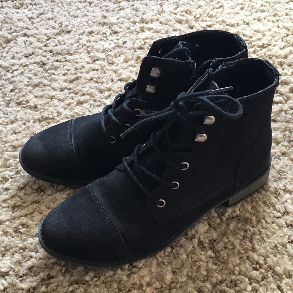 c4ff4b338ad1 Express Black Distressed Lace Up Ankle Boots Booties Size US 8 ...