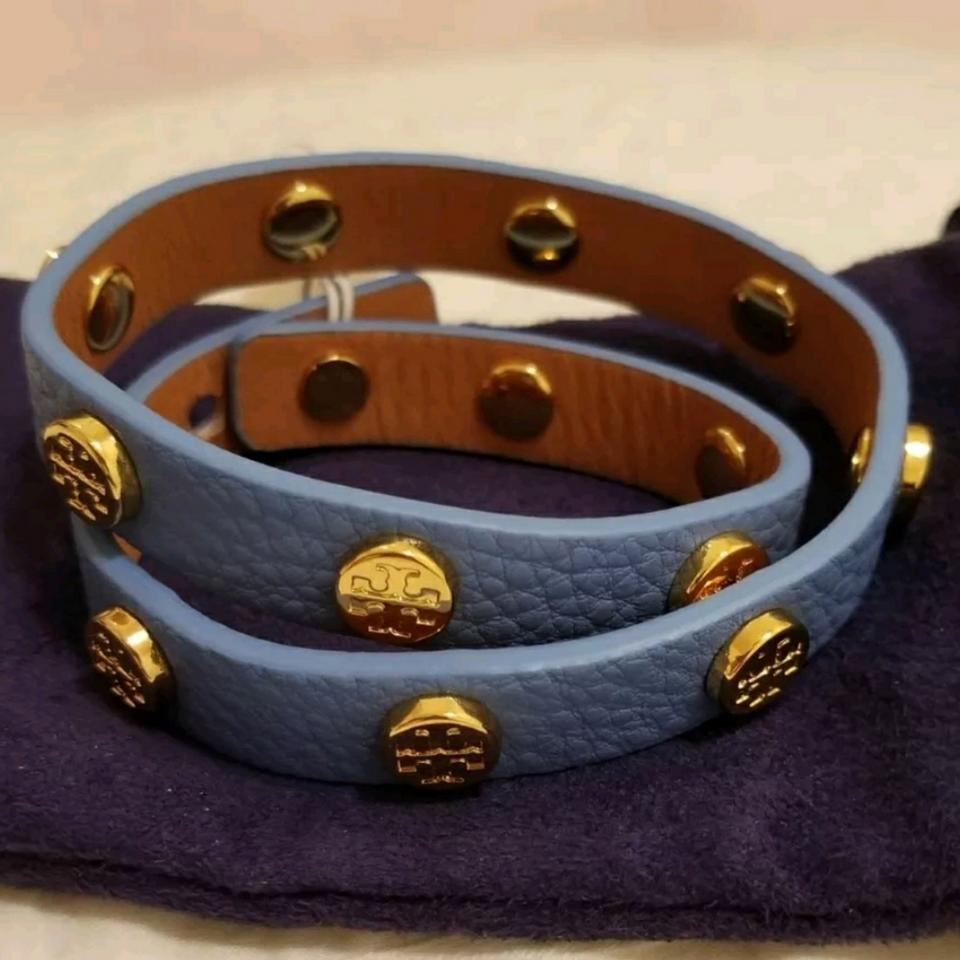 c27acc15e35cb Tory Burch Light Blue Stud Sky Gold Double Wrap Logo Leather Bracelet