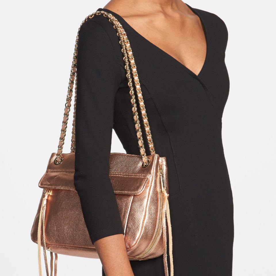 Rebecca Minkoff Swing Quilted With Rose Gold Hardware Black Leather Shoulder Bag 8 Off Retail