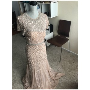 Adrianna Papell Champagne Gold Beaded Short Sleeve Gown Feminine Bridesmaid/Mob Dress Size 8 (M)