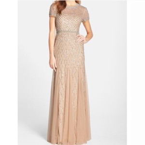 Adrianna Papell Taupe Pink Beaded Short Sleeve Gown Feminine Bridesmaid/Mob Dress Size 14 (L)