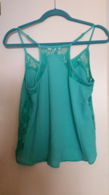 Forever 21 Lace Cut-out Top Teal Blue Green