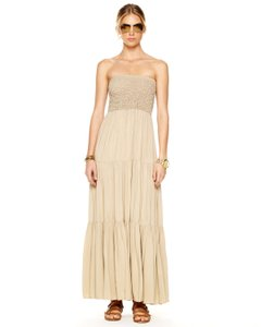 Khaki Maxi Dress by MICHAEL Michael Kors Ruched Tiered Maxi