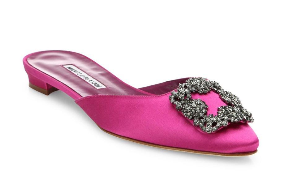 42d3857453ded manolo blahnik hangisi crystal buckle satin flat pink usa for sale