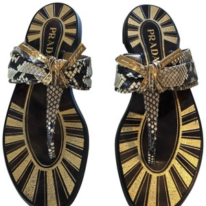 Prada Gold/Black/Brown Snake Sandals