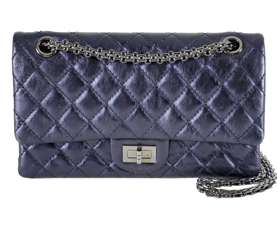 5ac885b027cce3 Chanel 2.55 Reissue Medium Metallic Distressed Navy/Blue Leather Shoulder  Bag