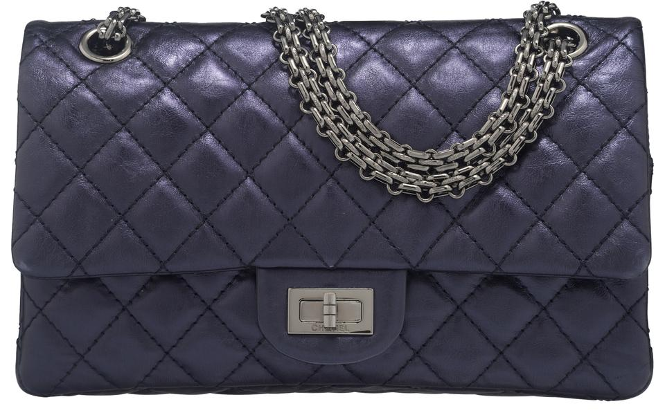 00373329594271 Chanel 2.55 Reissue Medium Metallic Distressed Navy/Blue Leather Shoulder  Bag - Tradesy