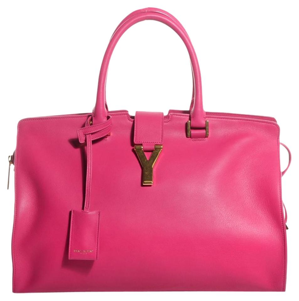 3541b43ee963 Saint Laurent ChYc New Ysl Medium Cabas Pink Y-ligne Fuchsia Leather ...