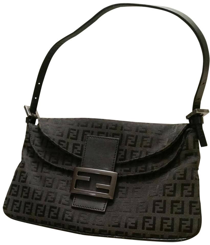 072bd8e647 Fendi Zucca Monogram Flap- Over Black Canvas with Leather Strap ...