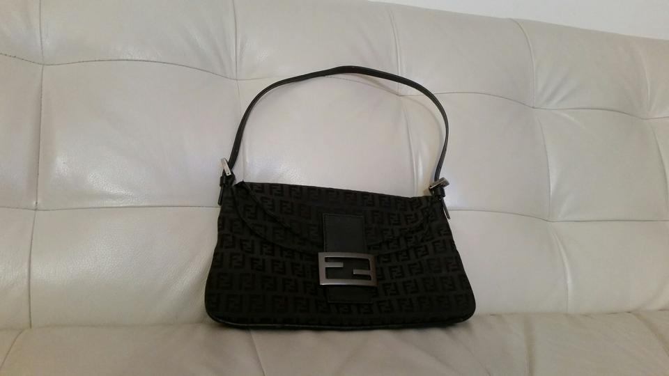 332c4a8022 Fendi Zucca Monogram Flap- Over Black Canvas with Leather Strap   Trim Shoulder  Bag - Tradesy