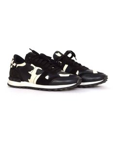 8512bad1e Valentino Black and White Classic Rockrunner Stud Camo Lace-up Leather  Trainer Sneakers