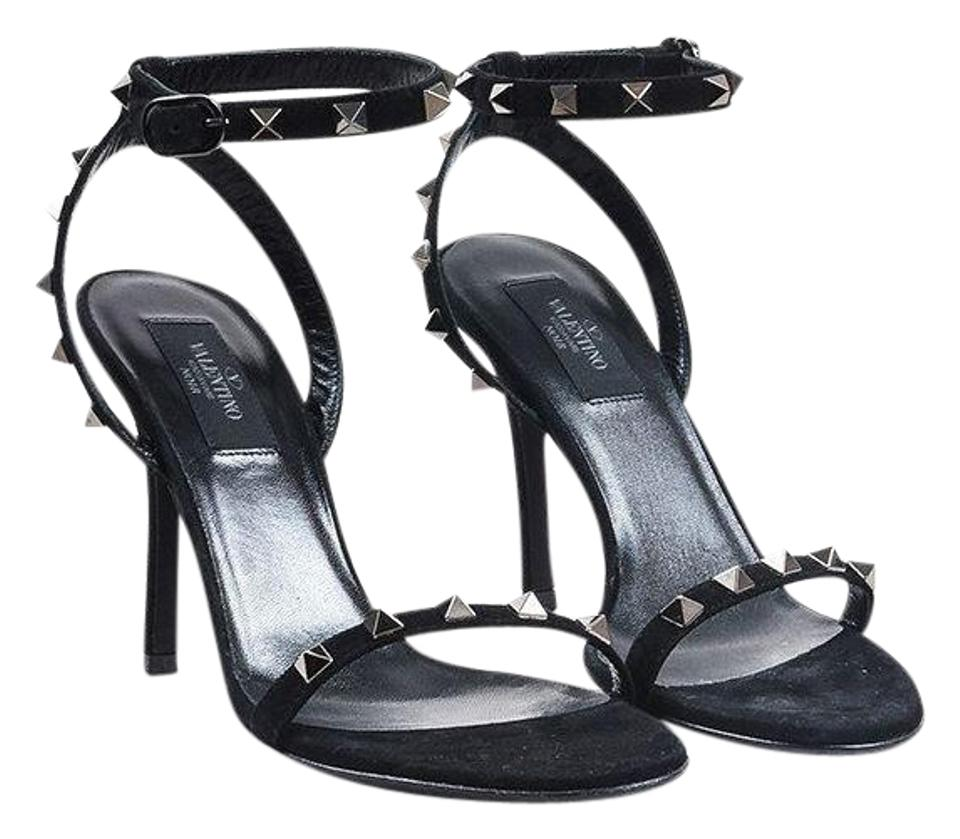 Valentino Black Classic Suede Leather Strap Rockstud Open Toe Ankle Strap Leather Sandals 4ea2f3
