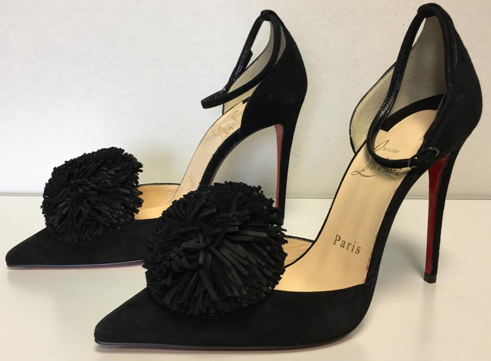 Suede Leather Pom toe Louboutin Pom 100mm Classic Fringe Black Christian Pumps Point Tsarou Y1n8dz8q