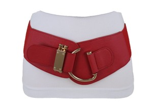 Alwastyle4you Women Belt Red Faux Leather Wide Band Hip Waist Gold Hook Buckle