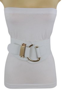 Alwastyle4you Women Belt White Faux Leather Wide Band Hip Waist Gold Hook Buckle