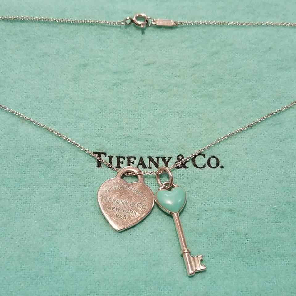 1b0a05401 Tiffany & Co. Blue Enamel Heart Tag and Key Necklace - Tradesy