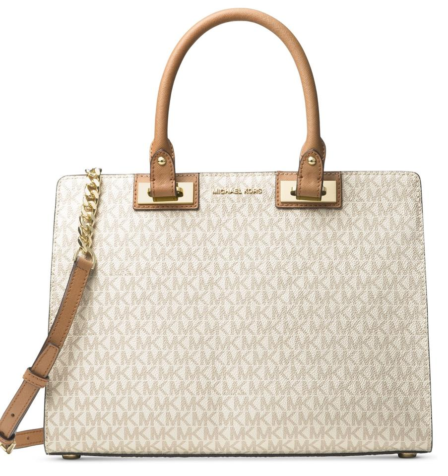 7e04831a2055 Michael Kors Signature Quinn Large Vanilla Leather Satchel - Tradesy
