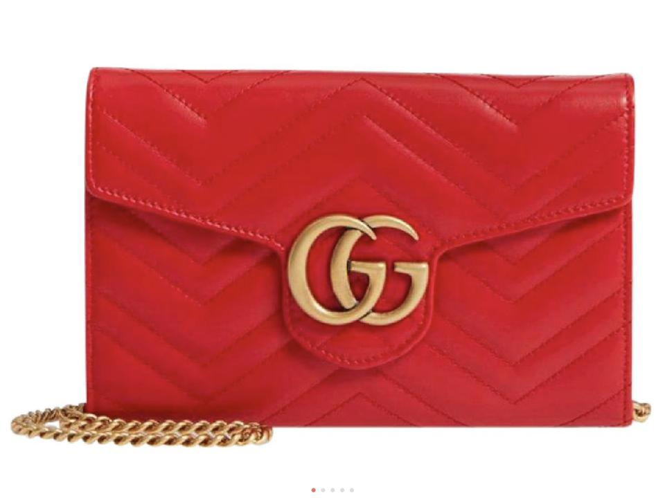 02ac7aab0397 Gucci Marmont Wallet On A Chain Red Leather Shoulder Bag - Tradesy