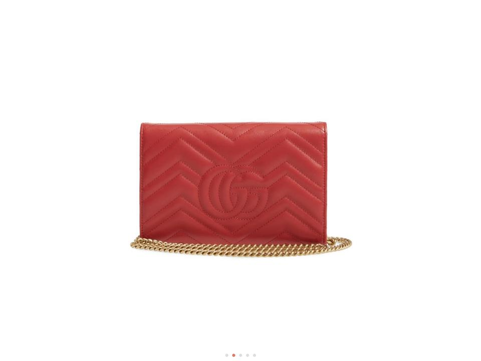 3a2b34059cb5fe Gucci Marmont Wallet On A Chain Red Leather Shoulder Bag - Tradesy