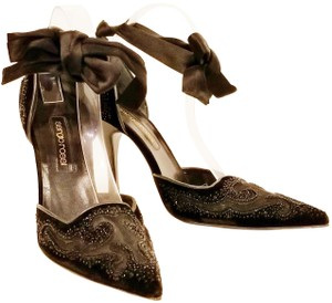 Sergio Rossi Vintage Formal Black with Beading Pumps