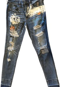 American Eagle Outfitters Distressed Punk Skinny Jeans-Distressed