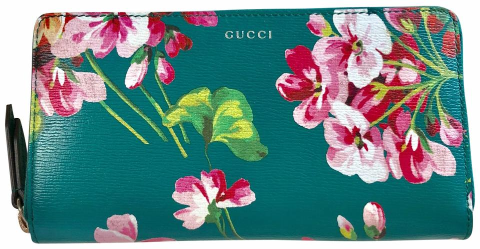 ed790ac8b95 Gucci NEW LIMTED GG Shanghai Green Teal Floral Bloom ZIP Continental  Saffiano Leather Wallet Image 0 ...
