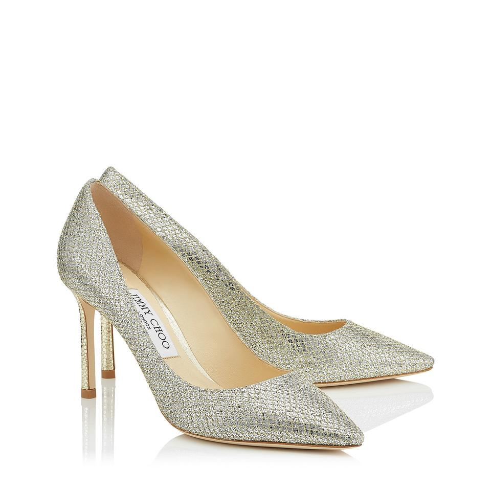 a7adfc2a79d Jimmy Choo Champagne Romy Glitter Fabric Pointy Pumps. Size  EU 38 ...